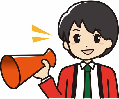 Male saleswoman with a megaphone wearing a happy