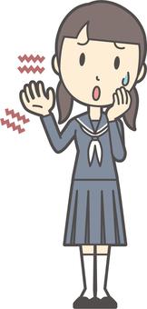 Junior high school sailor woman -053 whole body