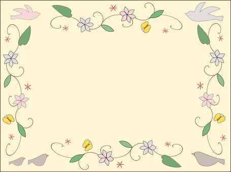Flower and bird frame 01