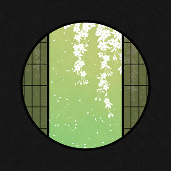 Watercolor round window material cherry blossom / green