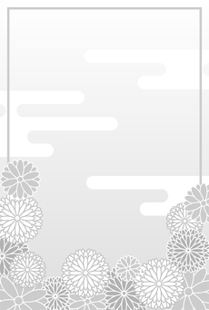Chrysanthemum monochrome mourning postcard