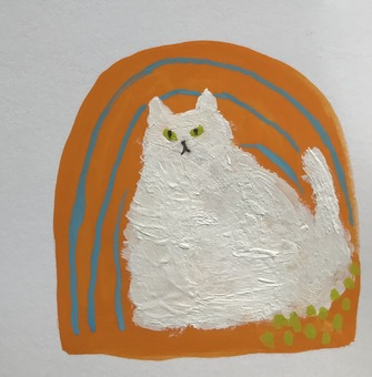 Long-haired white cat