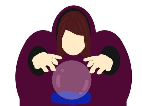 怪しげな女性の水晶占い師