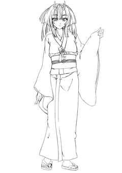 Kashima Maohime 4, semi-long (line drawing)