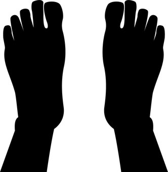 Figure silhouette seen from above both feet
