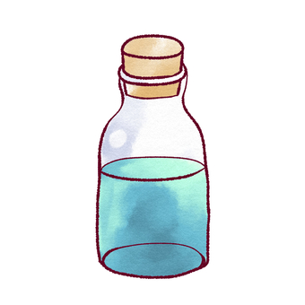 A small bottle containing a blue liquid