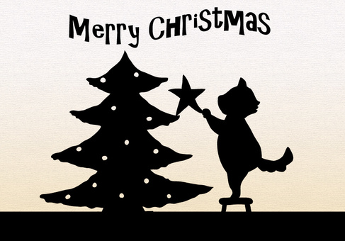 Silhouette Christmas tree and cat