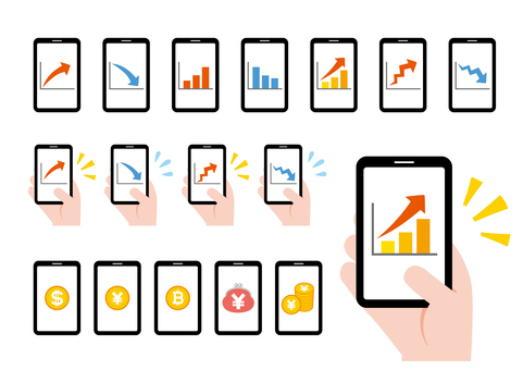 Smartphone graph management asset arrow