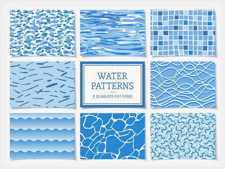 Sea and waves seamless patterns set