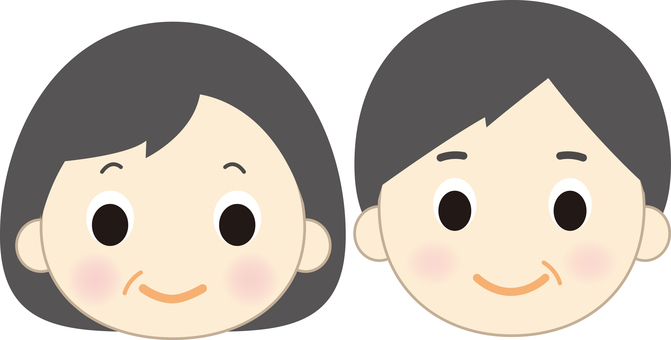 Older male and female faces