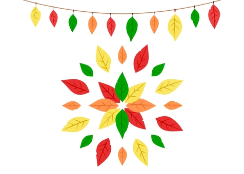 葉っぱ飾り・カラフル