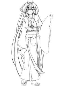Kashima Maohime 4, long hair (line drawing)