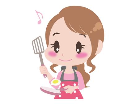 女性的上半身做飯