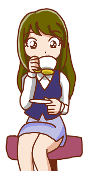 커피를 마시는 여성