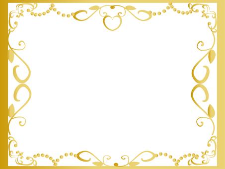 Gold frame of glitter heart