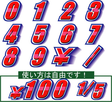 Numbers 0 to 9 ¥ / character on price and date