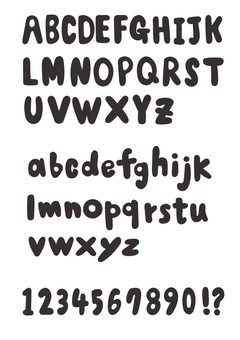 Black filled alphabet letters