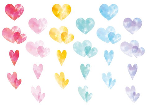 Colorful watercolor heart icon