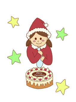 Girls Santa's homemade cake