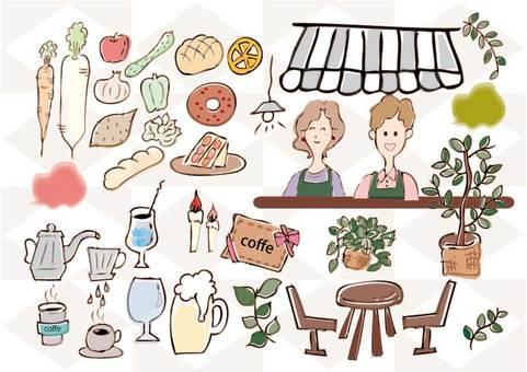 Food, planting, clerk, furniture