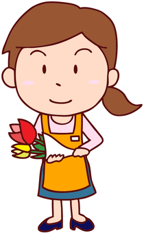 Illustration of a woman clerk at a flower shop