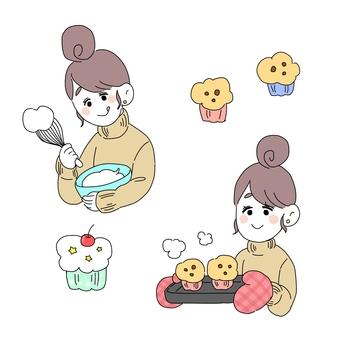 과자 만들기를하는 여자