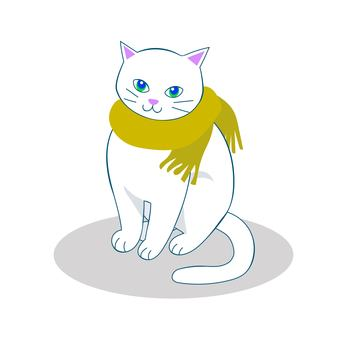 A cat that makes a mustache muffler - a white cat