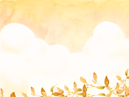 Watercolor hand-painted sunset and autumn leaves wallpaper