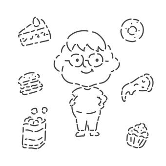 Junk food and fat man line drawing set