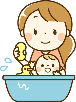Babies and mothers while bathing
