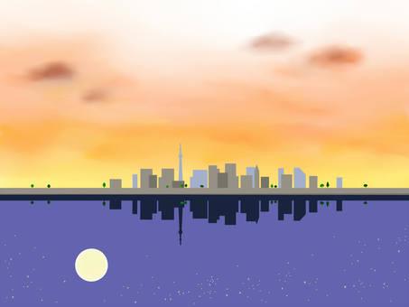 도시의 석양과 밤하늘 1