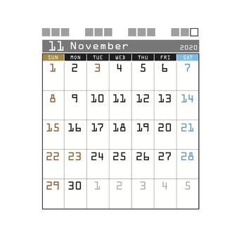 2020カレンダーテクノ11月