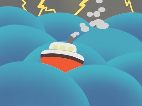 거친 바다와 배