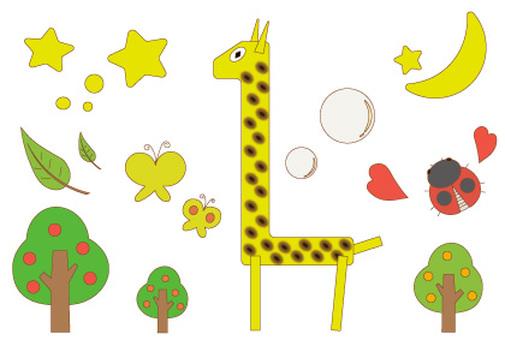 Giraffe, butterfly and ladybug