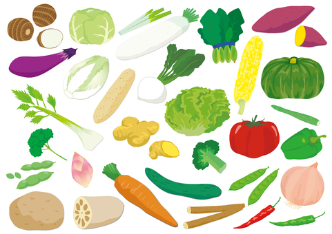 Various sets of vegetables