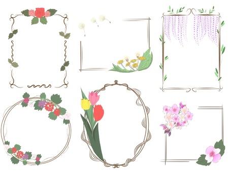 봄 꽃 프레임 세트