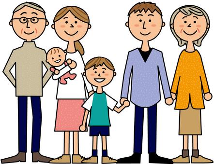 할아버지 할머니와 젊은 부부과 소년과 아기