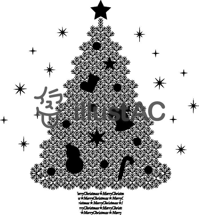 モノクロクリスマスツリーイラスト No 593198無料イラストなら