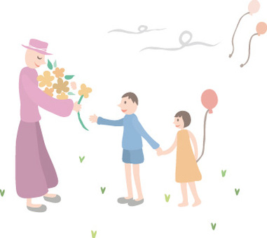 Person with hat / balloon with children