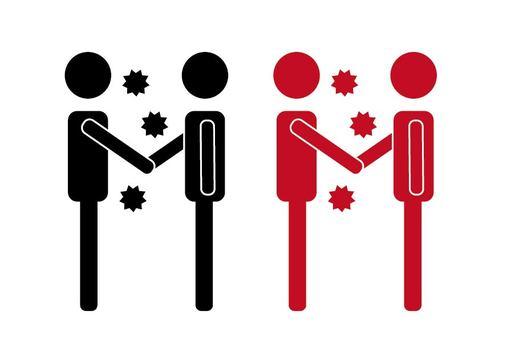 握手和病毒象形圖