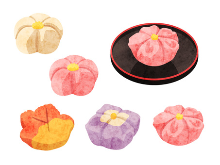 Cooking _ Japanese confectionery _ chopsticks _ watercolor