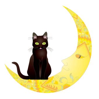 Moon and cat _ crescent moon