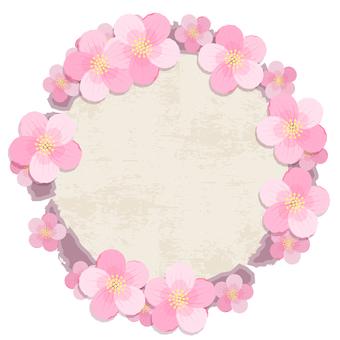 桜の花の丸いフレーム
