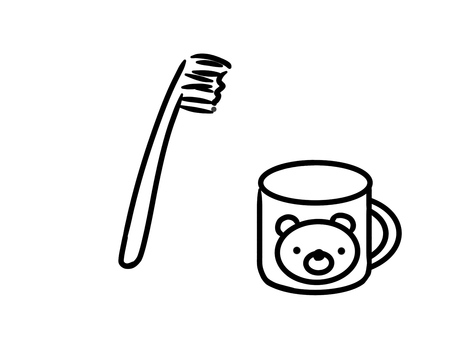 Toothbrush, cup