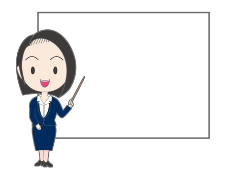 A woman with a stick in front of the white board
