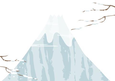 Mt. Fuji with snowy scenery