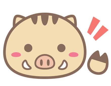 丸っこい猪_手