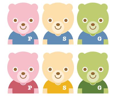 Three-color dumpling-like bear