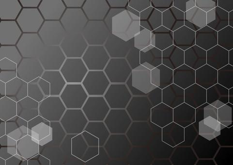 黒色のネットワーク六角形抽象背景素材