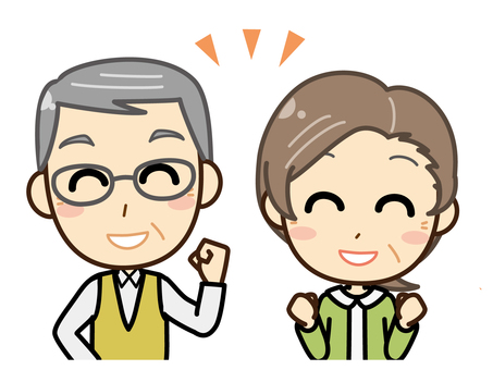 Senior man and woman _ upper body _ smile